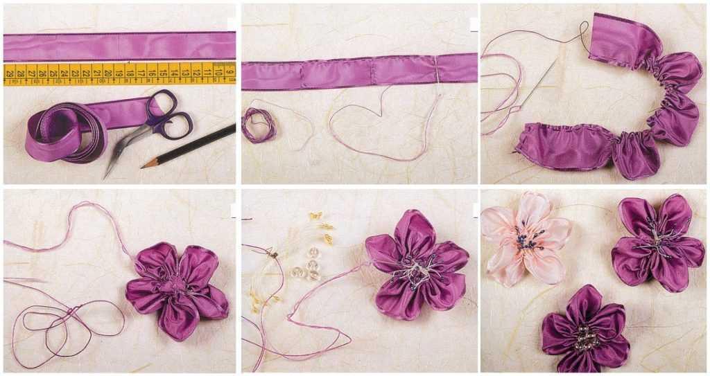 Как сделатьцветок из ткани своими руками 60