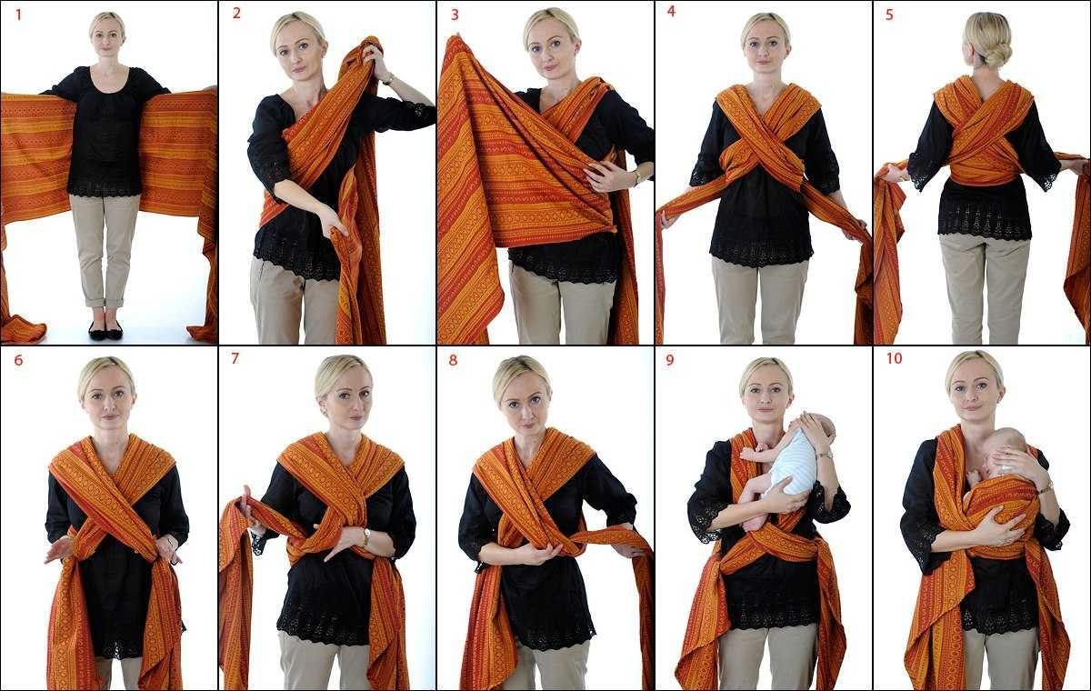 Инструкция по завязыванию тканного слинг-шарфа