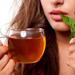 Чашка чая и мята в руках у женщины