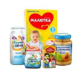 Основную часть продуктов для прикорма составляют соки, каши и пюре