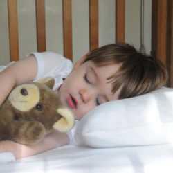 Малыш спит на подушке с игрушкой