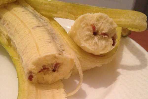 Пятно от банана следует застирывать пораньше
